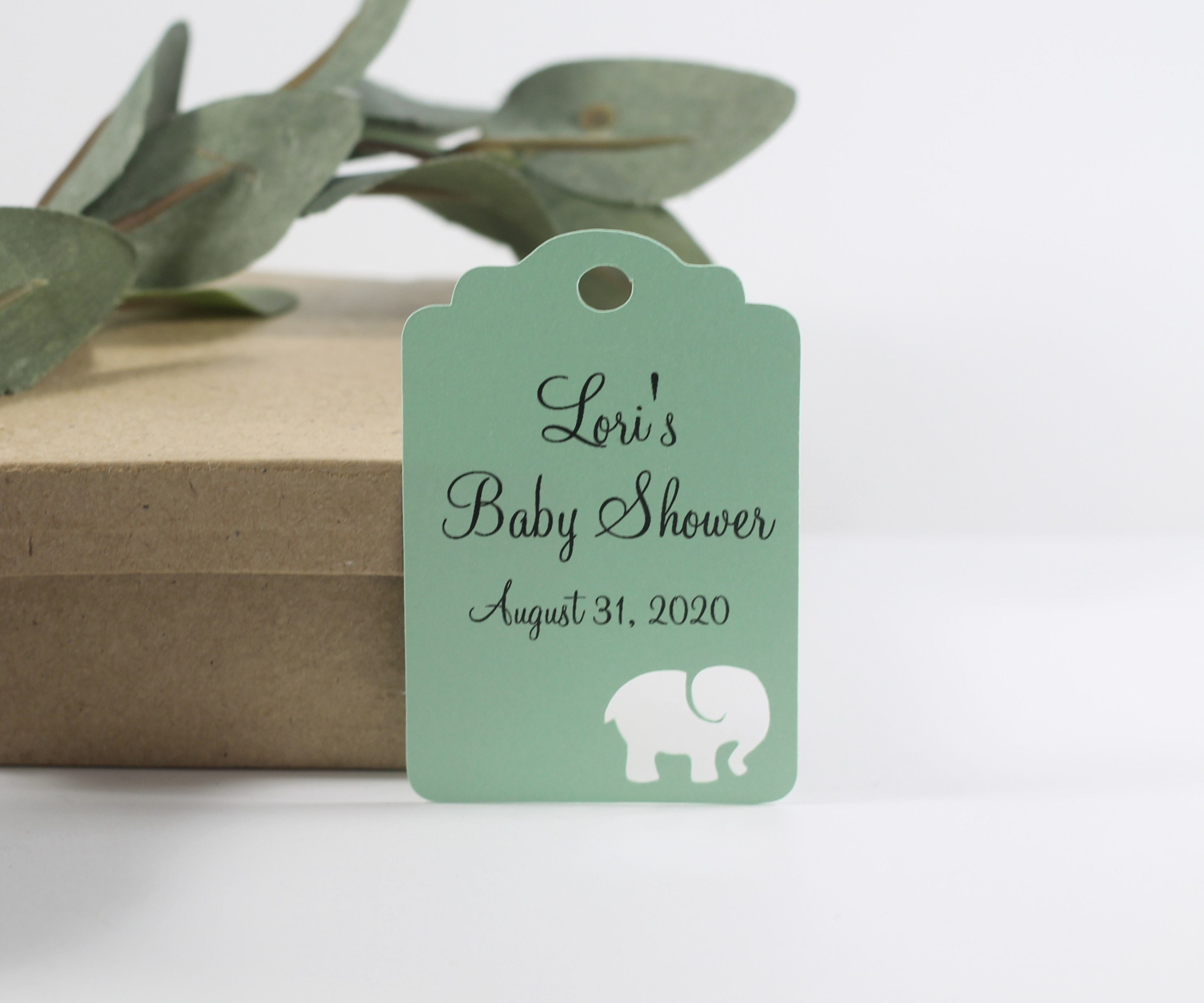 Custom Baby Shower Tags with Elephant - Light Green - 20pc