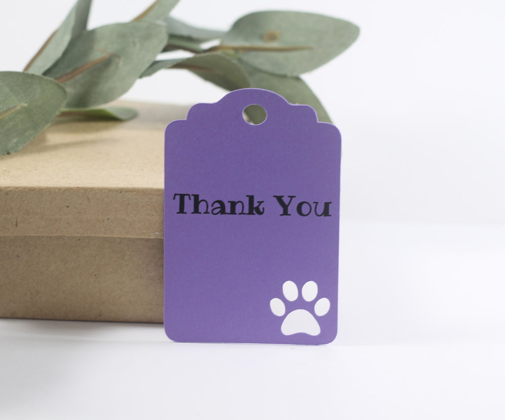 Party Tags with Paw Print - Thank You - Purple - 20pc
