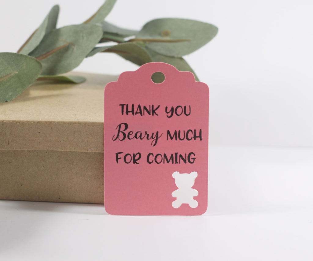 Baby Shower Tags with Bear - Thank You Beary Much for Coming - Pink - 20pc