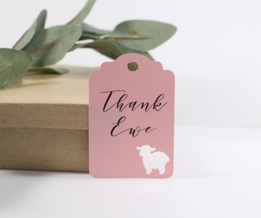 Baby Shower Tags with Sheep - Thank Ewe - Light Pink - 20pc