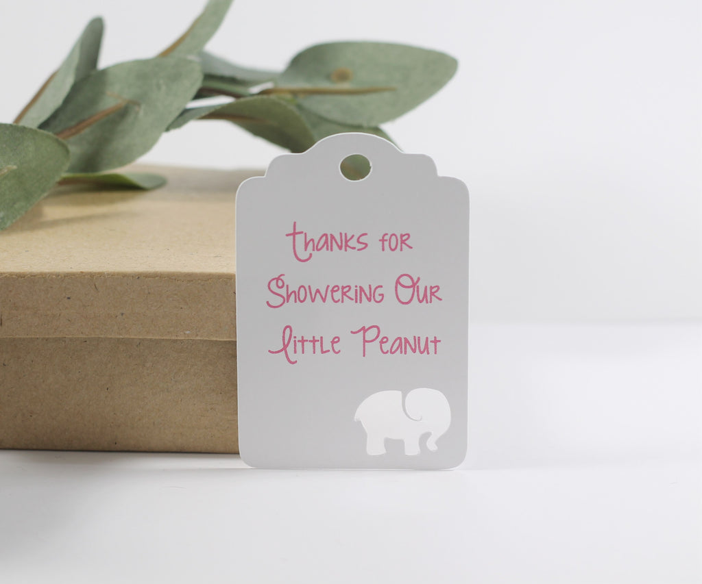 Baby Shower Tags with Elephant - Thanks for Showering Our Little Peanut - Pink Text - 20pc