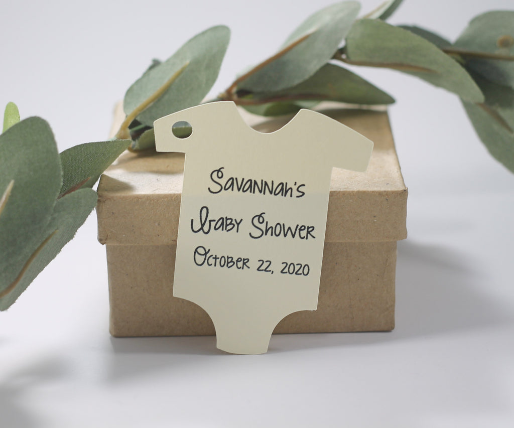 Baby Shower Tags - Custom Cream Shower Tags - 20pc