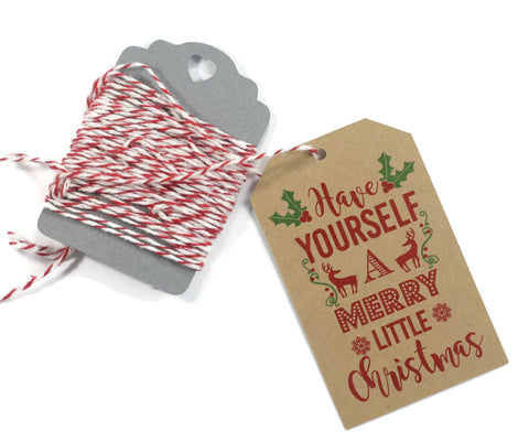 Have Yourself a Merry Little Christmas Present Tags  in Red and Brown 10pc - The Paper Medley