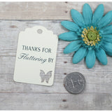 Butterfly Thank You Tags -Thanks for Fluttering - Cream - 20pc-Party Tags-The Paper Medley