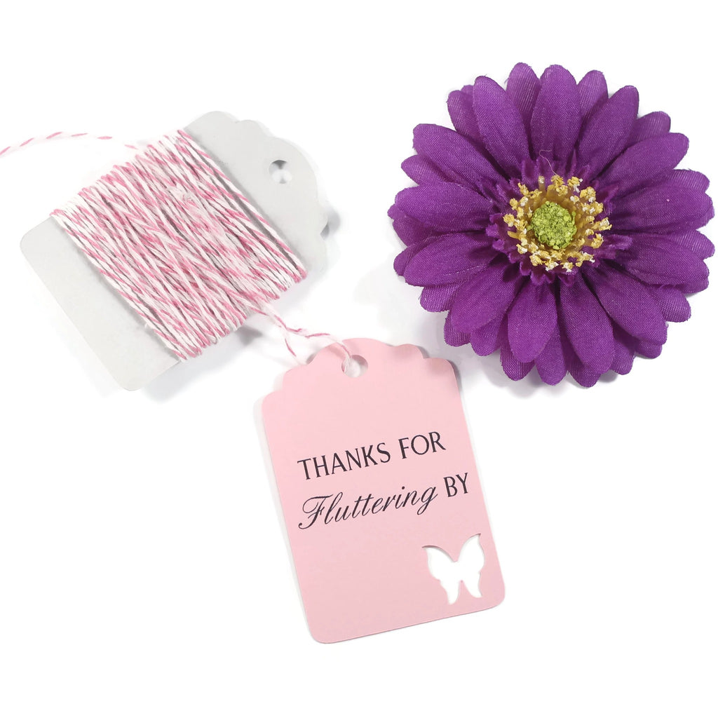 Butterfly Thank You Tags -Thanks for Fluttering - Light Pink - 20pc-Party Tags-The Paper Medley