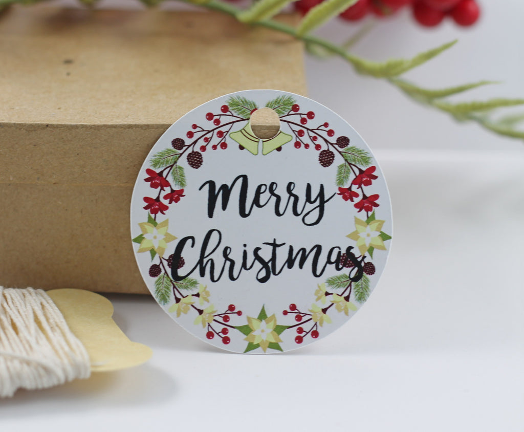 Merry Christmas Gift Tags with Wreath -10pc