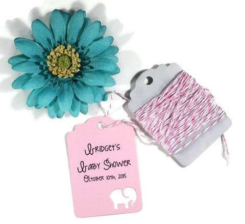 Personalized Pink Baby Shower Tags with Elephant Set of 20 | The Paper Medley - The Paper Medley