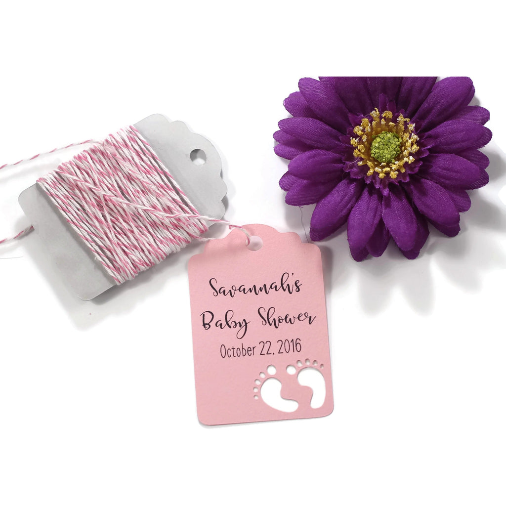 Baby Shower Tags with Feet - Custom Light Pink Baby Shower with Feet Tags - 20pc-Baby Shower Tags-The Paper Medley