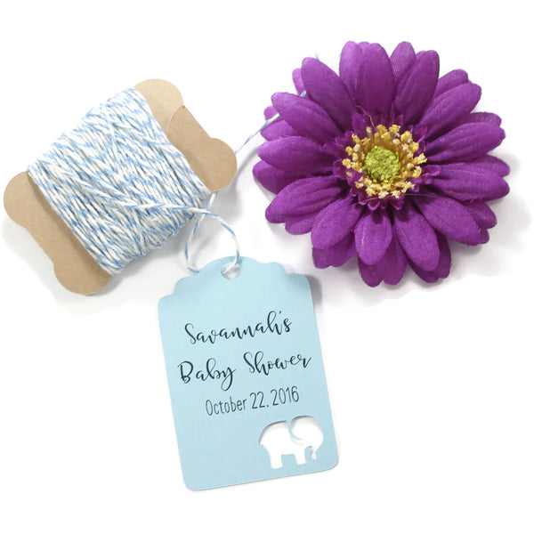 Personalized Baby Blue Elephant Shower Tags (Set of 20) | The Paper Medley - The Paper Medley