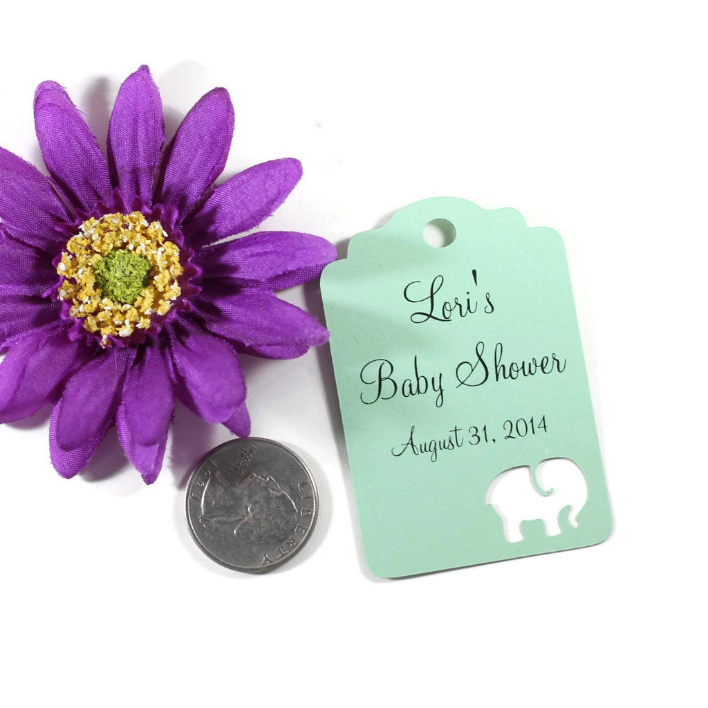 Custom Baby Shower Tags with Elephant - Light Green - 20pc-Baby Shower Tags-The Paper Medley
