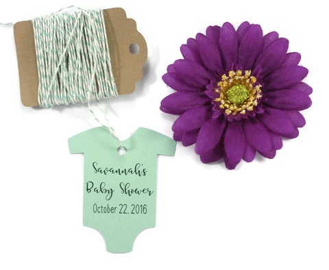 Green Baby Shower One Piece Tags - Personalized Set of 20 | The Paper Medley - The Paper Medley