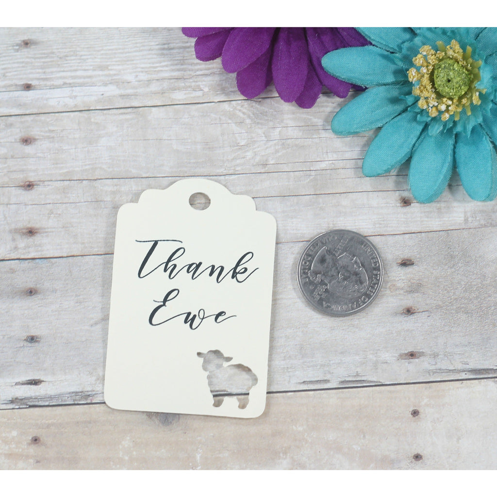 Baby Shower Tags - Cream Baby Shower Favor Tags with Thank Ewe - 20pc-Baby Shower Tags-The Paper Medley