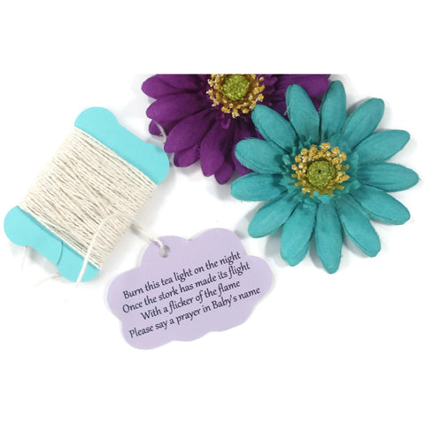 Cloud Themed Baby Shower Tags with Stork Poem in Light Purple Set of 20 - The Paper Medley