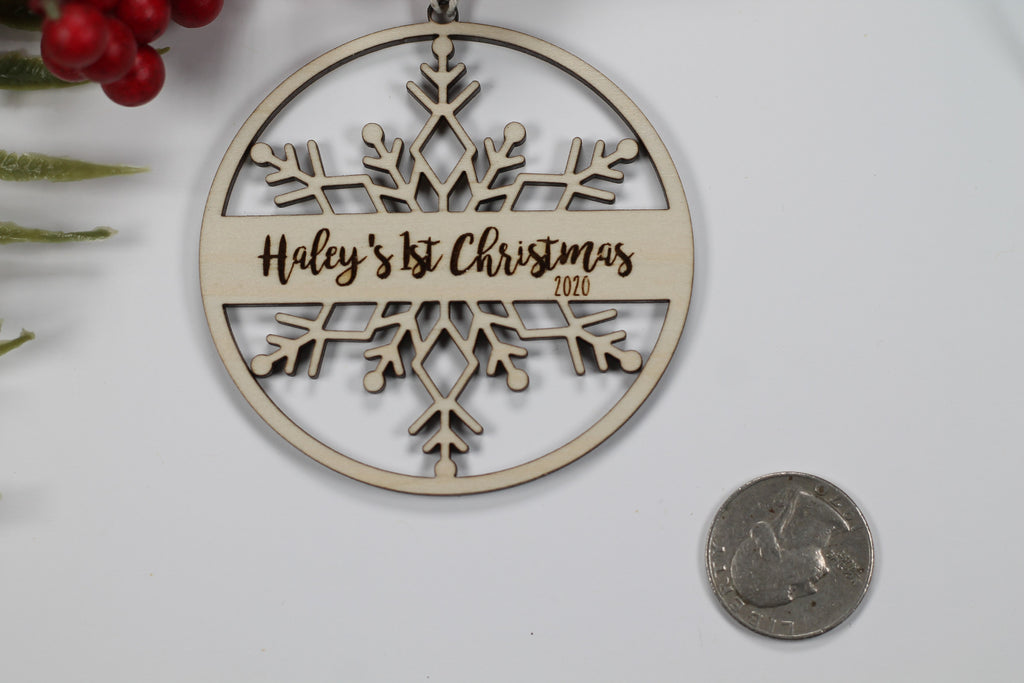 Baby's First Christmas Ornament in Wood - Snowflake