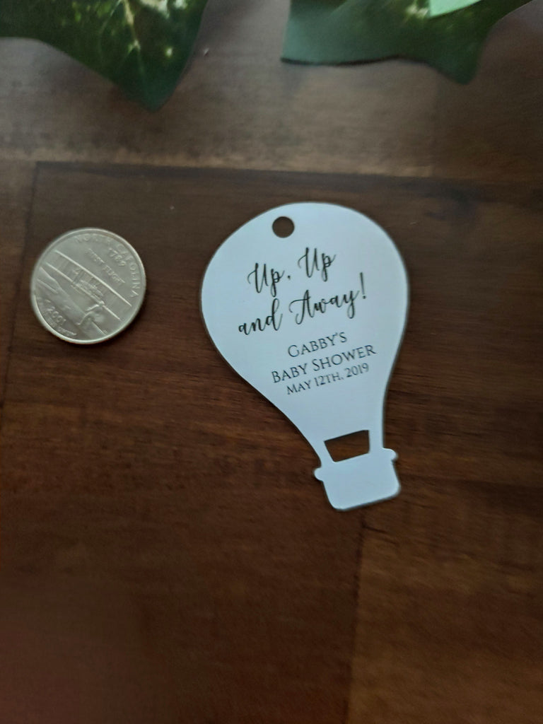 Custom Baby Shower Tags - Hot Air Balloon Shape - Up, Up and Away - White - 20pc