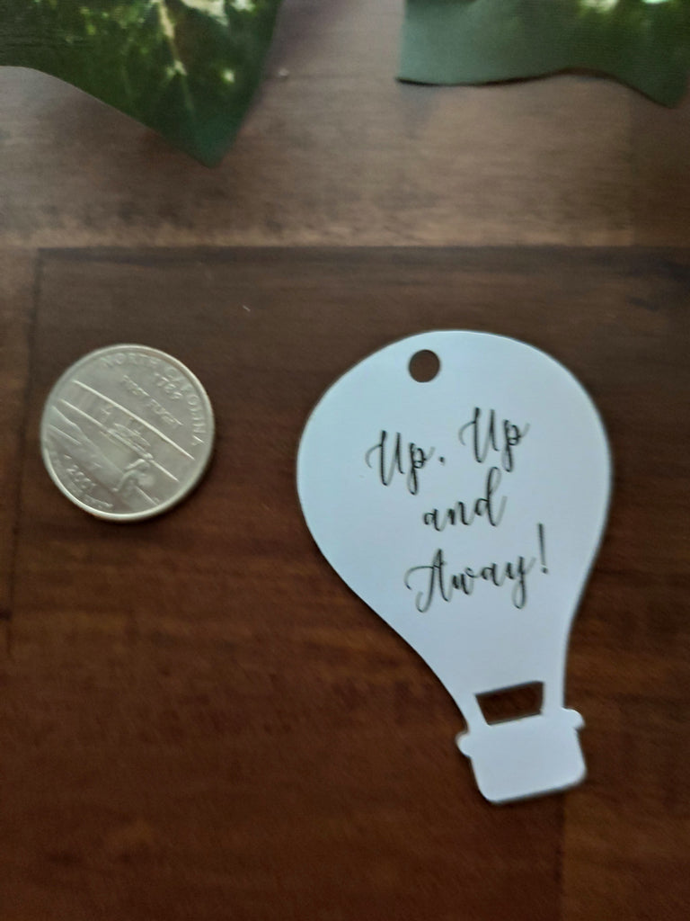 Baby Shower Tags - Hot Air Balloon Shape - Up, Up and Away - White - 20pc