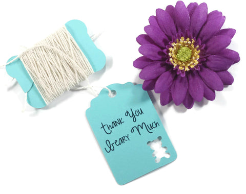 Aqua Baby Shower Tags - Thank You Beary Much Set of 20 | The Paper Medley - The Paper Medley