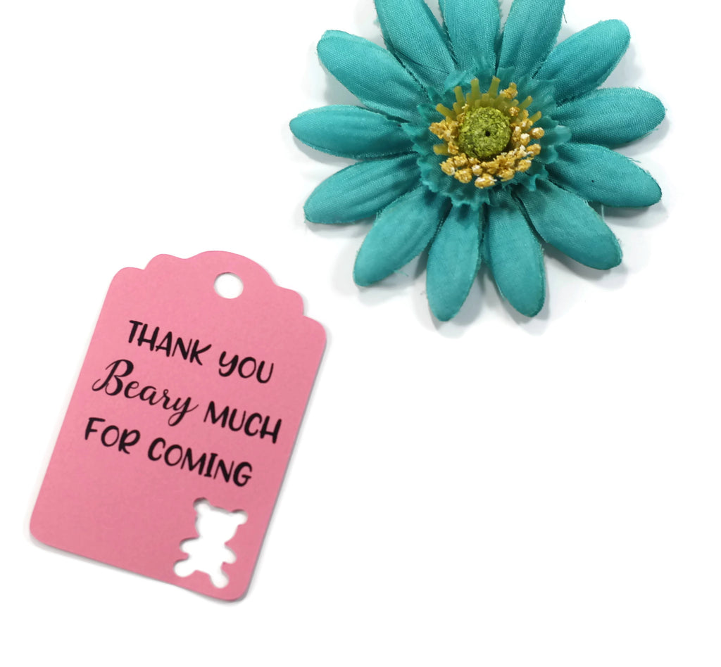 Baby Shower Tags with Bear - Thank You Beary Much for Coming - Pink - 20pc-Baby Shower Tags-The Paper Medley