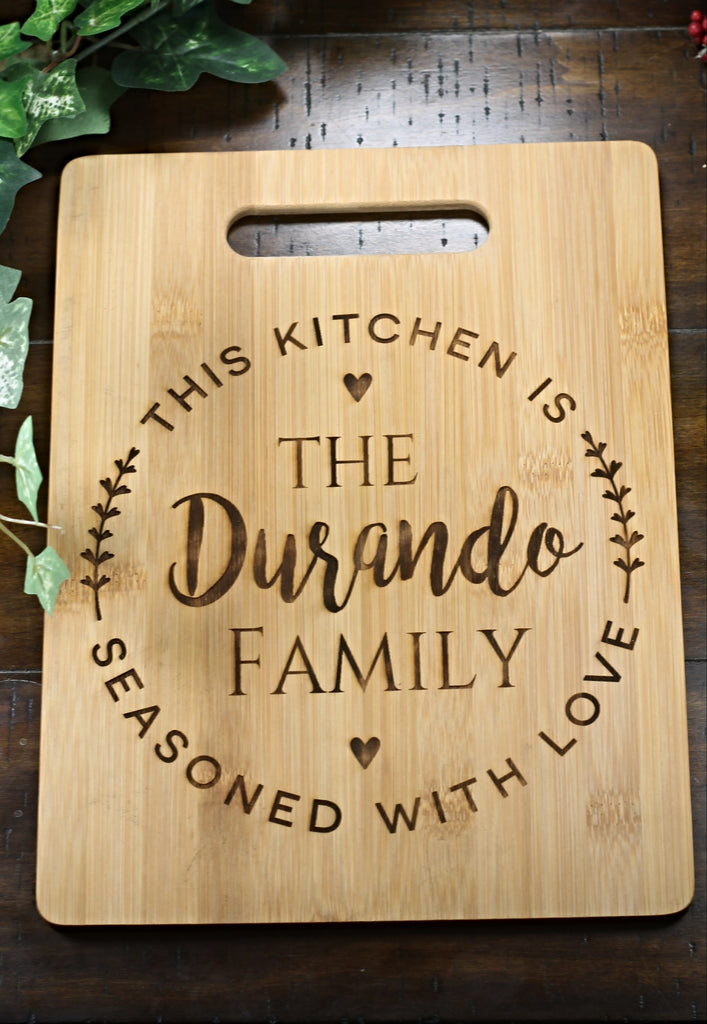 "Personalized Bamboo Cutting Board - Seasons With Love 9.5"" by 12.5"""