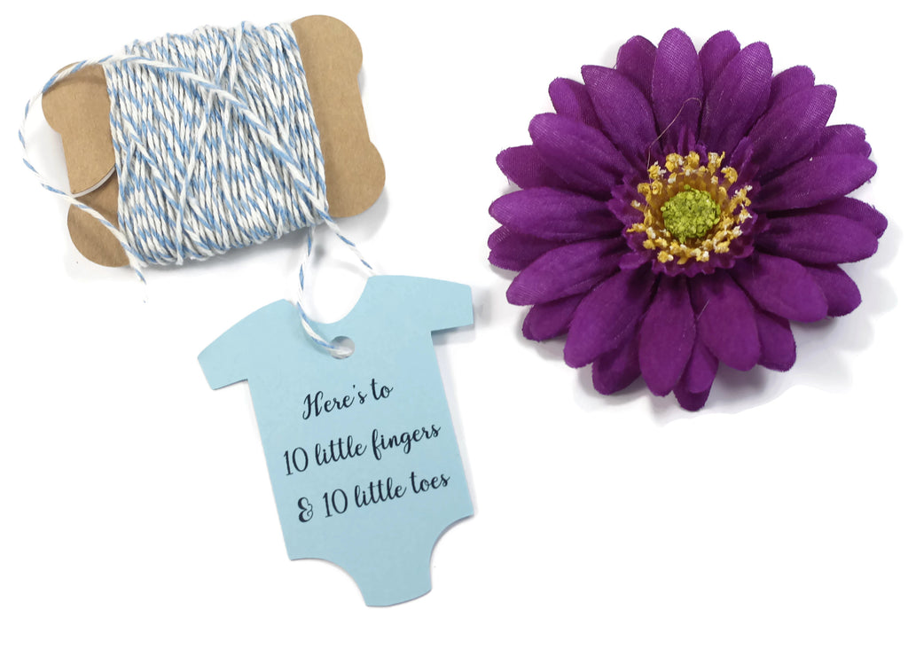 Baby Shower Tags in One Piece Shape - in One Piece Shape - Here's to 10 Little Fingers and 10 Little Toes - Light Blue - 20pc-Baby Shower Tags-The Paper Medley