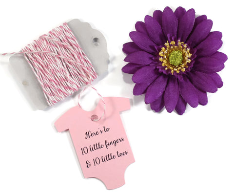 Light Pink One Piece Tags - Here's to 10 Little Fingers and 10 Little Toes Set of 20 | The Paper Medley - The Paper Medley