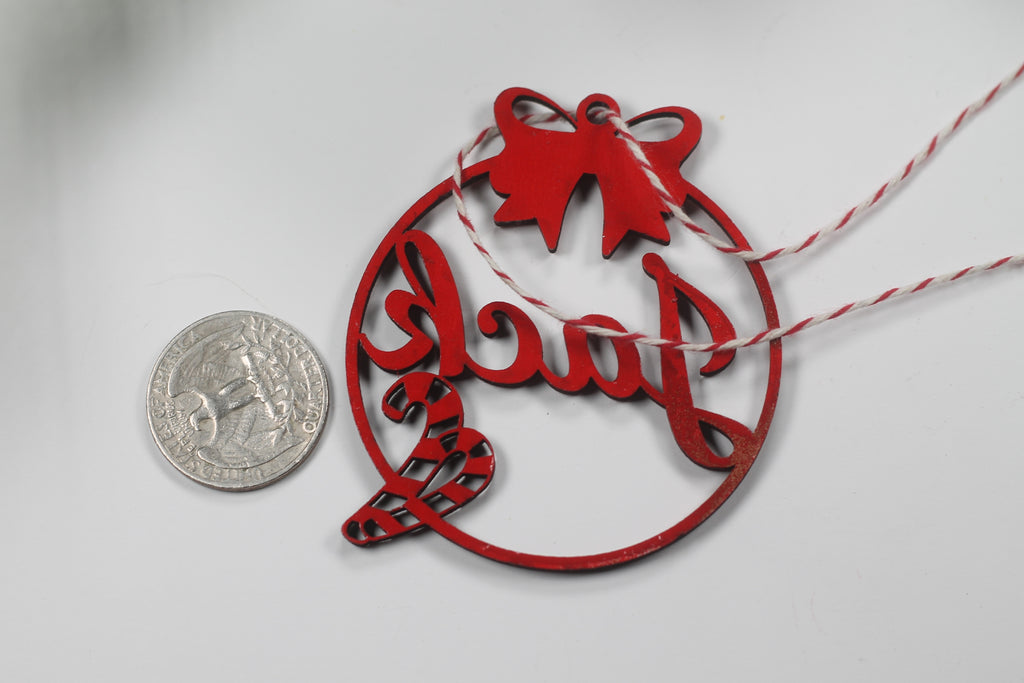 Candy Cane Themed Ornament with Child's Name in Red