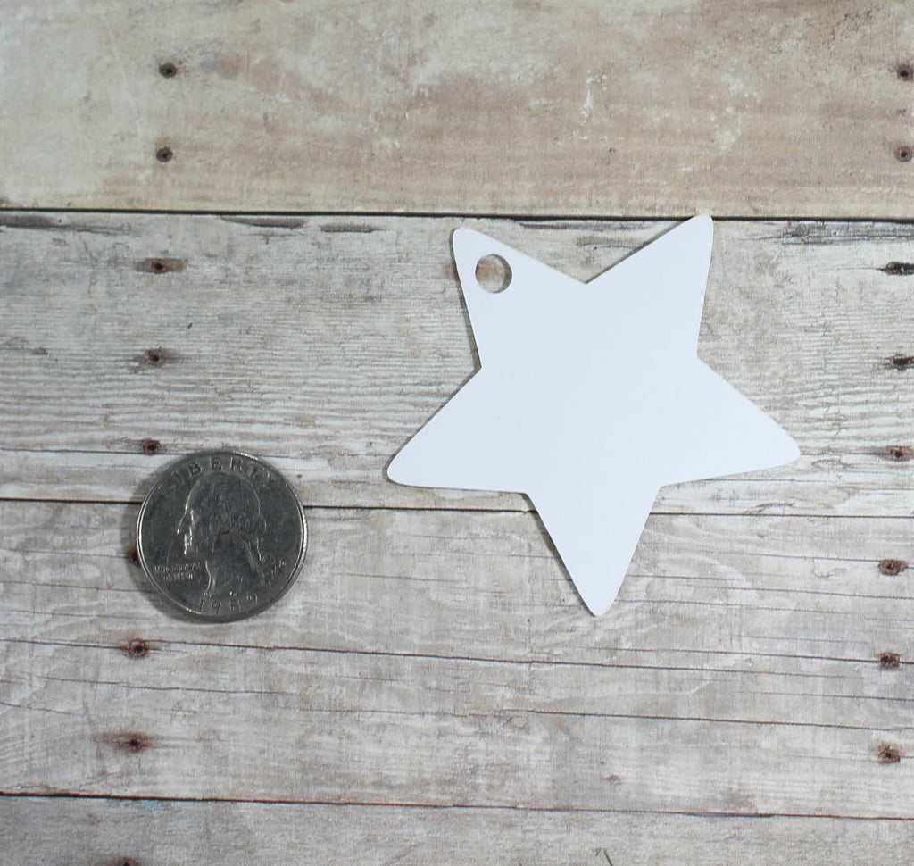 Baby Shower Tags - Open Your Bottle Star Shaped Tags - Shower Tags in White - 20pc-Baby Shower Tags-The Paper Medley
