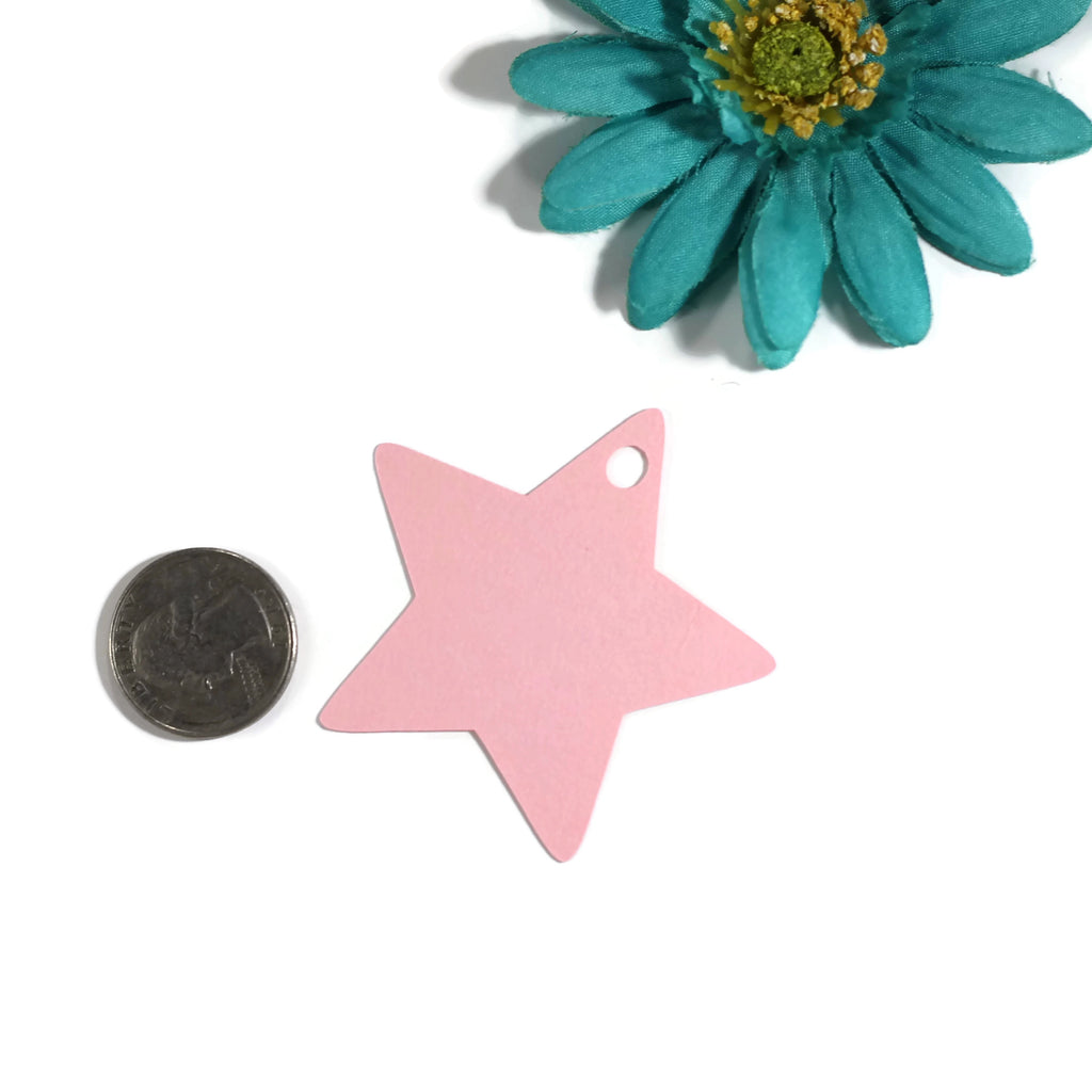 Baby Shower Tags - Open Your Bottle Star Shaped Tags - Shower Tags in Light Pink - 20pc-Baby Shower Tags-The Paper Medley