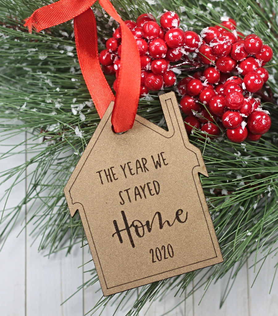 The Year We Stayed Home Christmas Ornament in Gold
