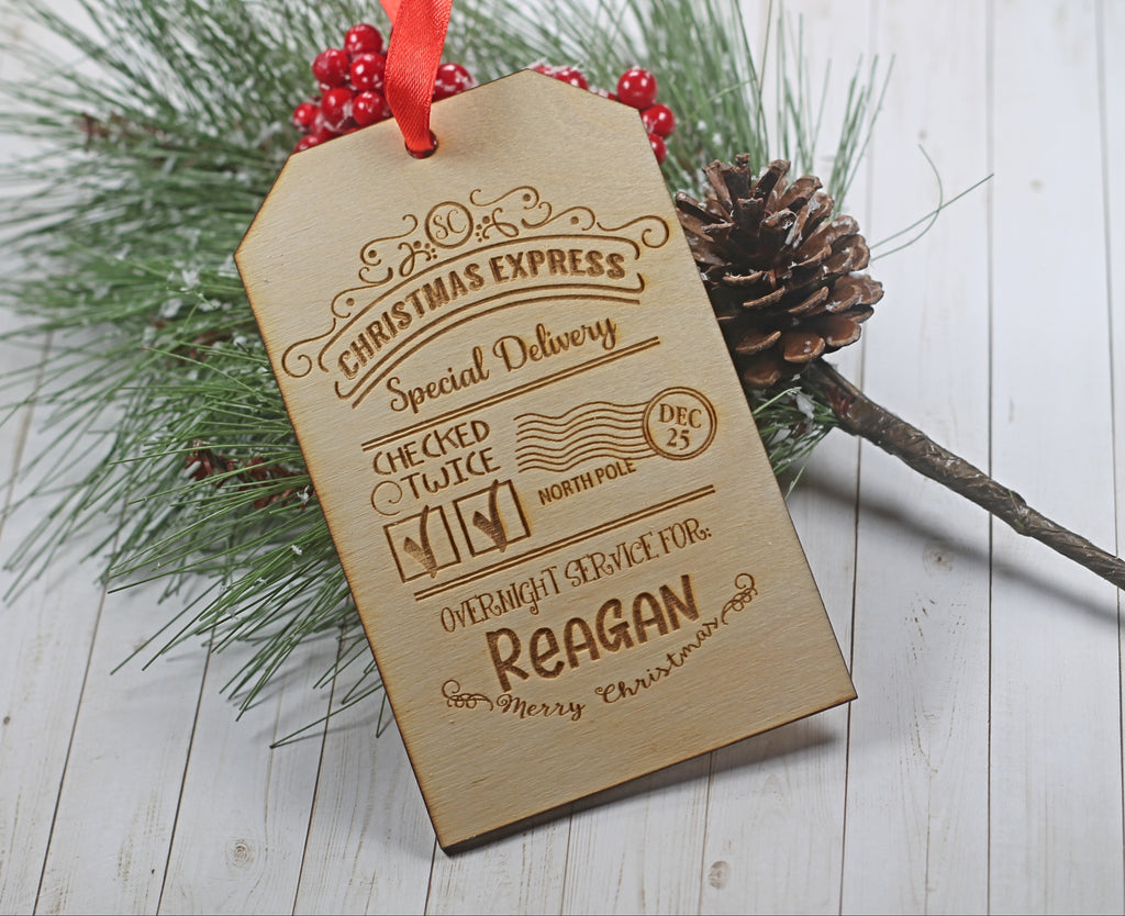 Wooden Child's Present Labels From Santa - Special Delivery Tag