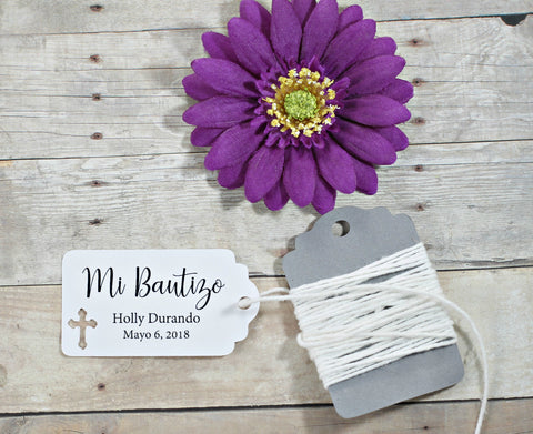 White Baptism Tags Set of 20 - Mi Bautizo | The Paper Medley - The Paper Medley