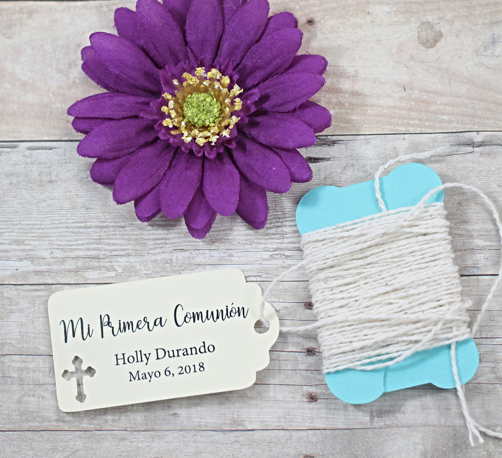 Small Communion Tags - Mi Primera Communion - Cream - 20oc-Baptism Favor Tags-The Paper Medley