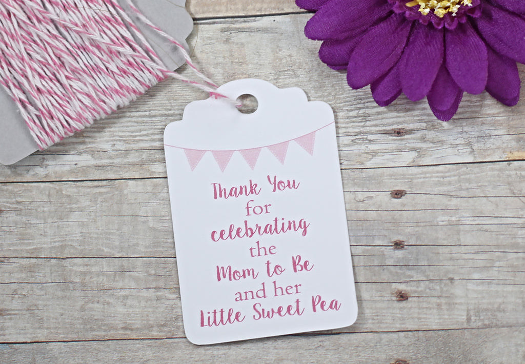 Baby Shower Tags - Pink - Sweet Pea Set of 20-Baby Shower Tags-The Paper Medley