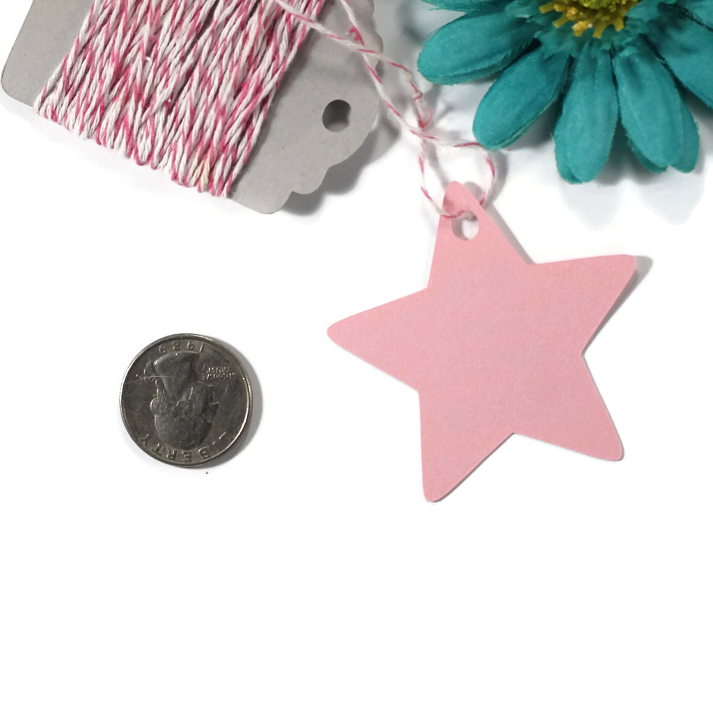 Custom Baby Shower Tags - Star Shape - Twinkle Twinkle Little Star - Light Pink - 20pc-Baby Shower Tags-The Paper Medley