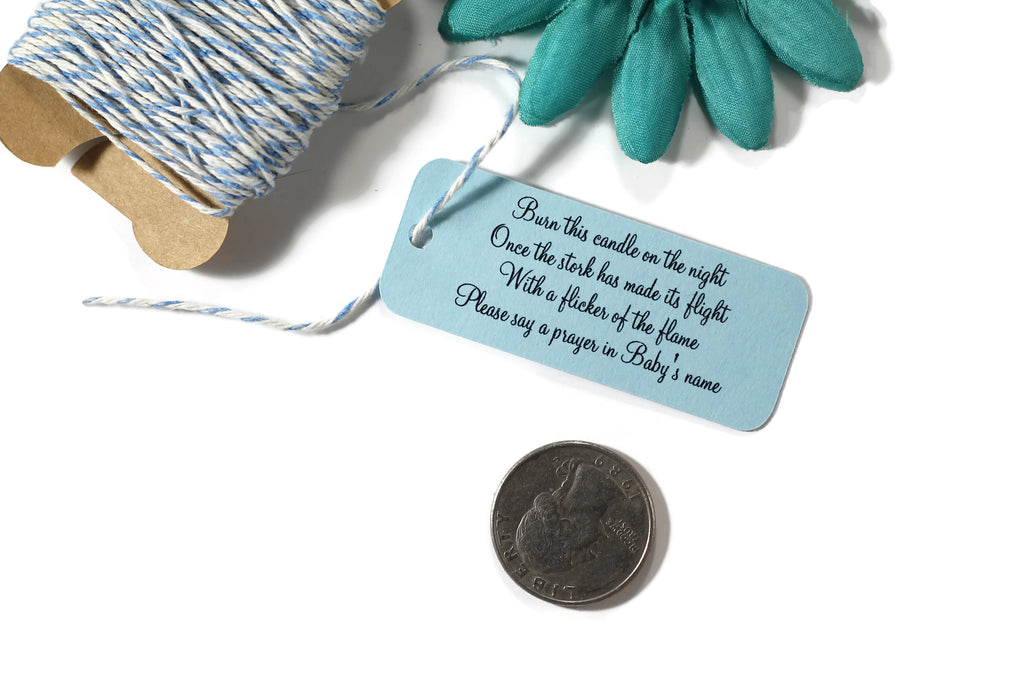 Small Baby Shower Tags - Burn This Candle - Light Blue- 20pc-Baby Shower Tags-The Paper Medley