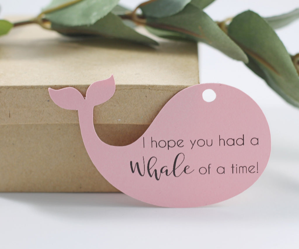 Baby Shower Tags - Light Pink - Whale of a Time - 20pc-Baby Shower Tags-The Paper Medley