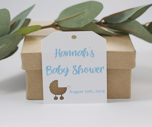 Personalized White and Blue Baby Shower Favors with Pram (Set of 20) | The Paper Medley - The Paper Medley