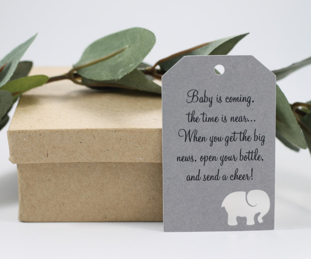 Baby Shower Tags with Elephant - Baby is Coming - Grey - 20pc-Baby Shower Tags-The Paper Medley