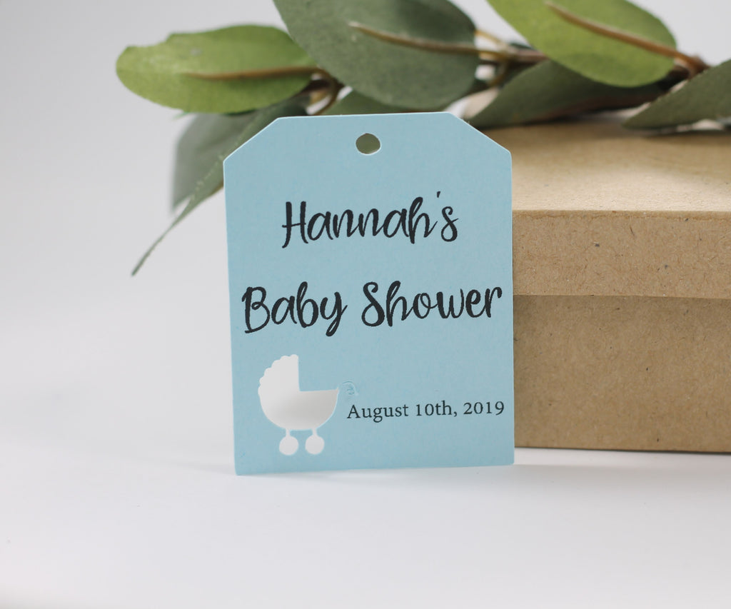 Baby Shower Tags - Small Baby Blue Shower Tags with Pram - 20pc-Baby Shower Tags-The Paper Medley
