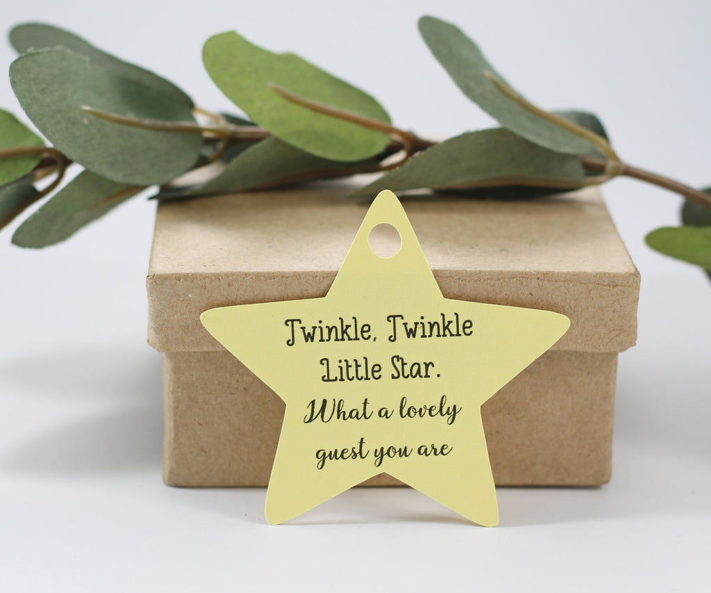 Baby Shower Tags - Star Shape - Twinkle Twinkle Little Star - Yellow - 20pc-Baby Shower Tags-The Paper Medley