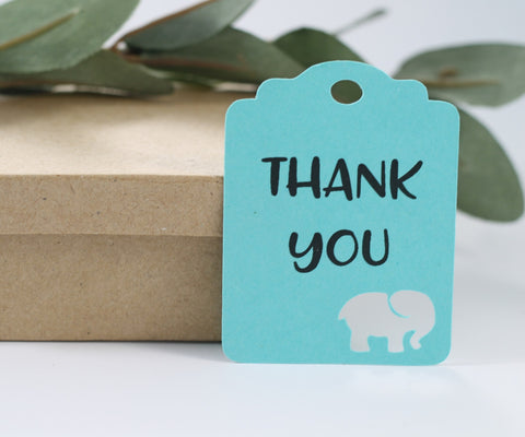 Aqua Elephant Baby Shower Tags - Thank You (Set of 20) | The Paper Medley - The Paper Medley