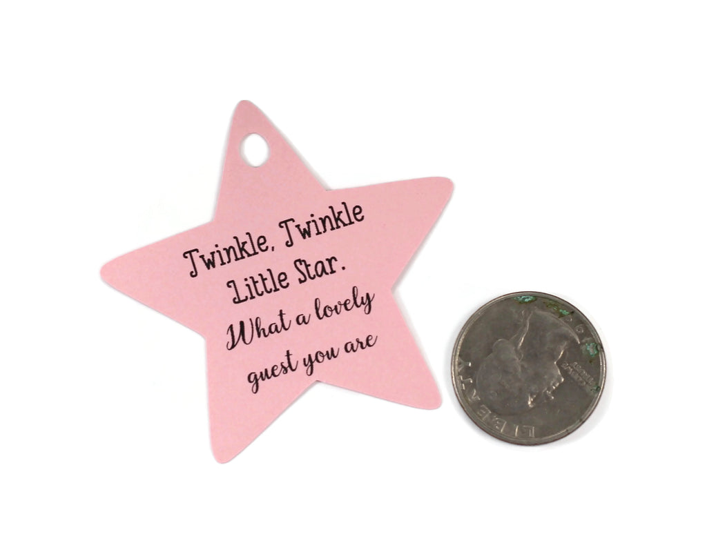 Baby Shower Tags - Star Shape - Twinkle Twinkle Little Star - Light Pink - 20pc-Baby Shower Tags-The Paper Medley
