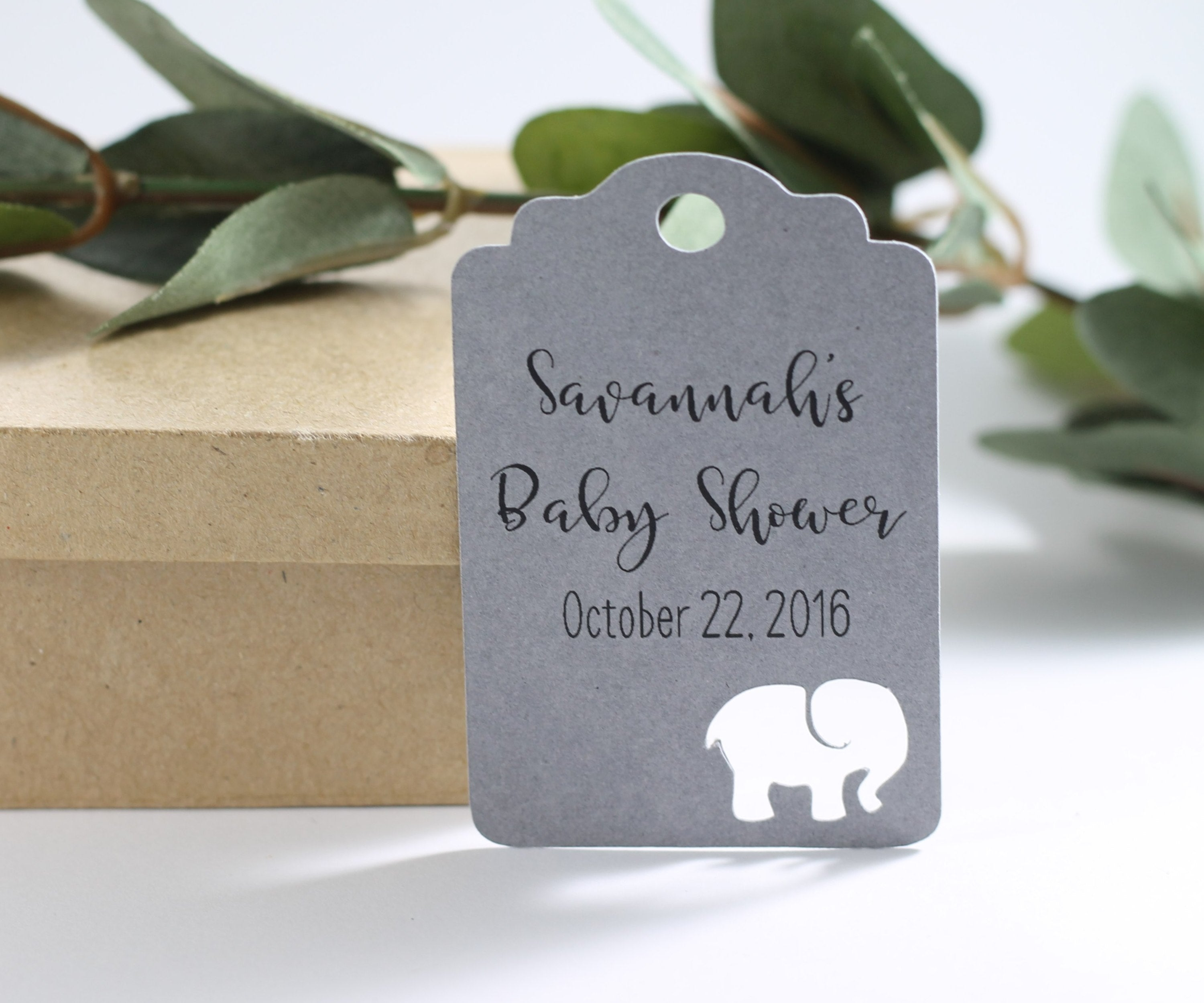 Custom Baby Shower Tags with Elephant - Grey - 20pc-Baby Shower Tags-The Paper Medley