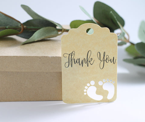 Antique Gold Baby Shower Thank You Tags with Feet Set of 20 | The Paper Medley - The Paper Medley