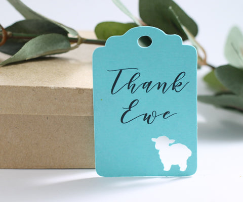 Aqua Baby Shower Favor Tags with Thank Ewe Set of 20 | The Paper Medley - The Paper Medley