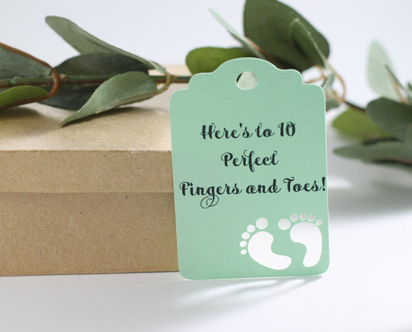 Light Green Baby Shower Tags Set of 20 | The Paper Medley - The Paper Medley