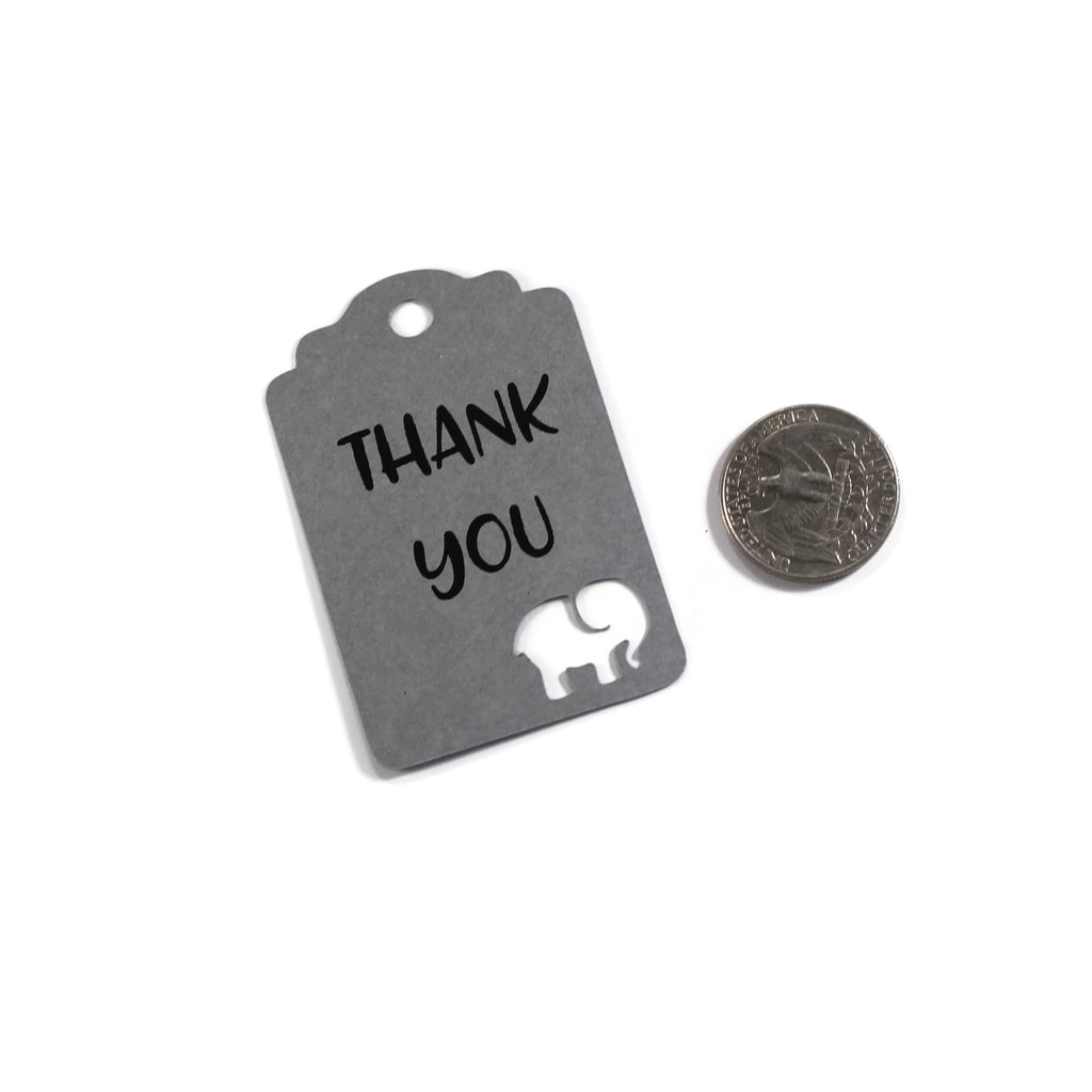 Baby Shower Tags with Elephant - Thank You - Grey - 20pc-Baby Shower Tags-The Paper Medley