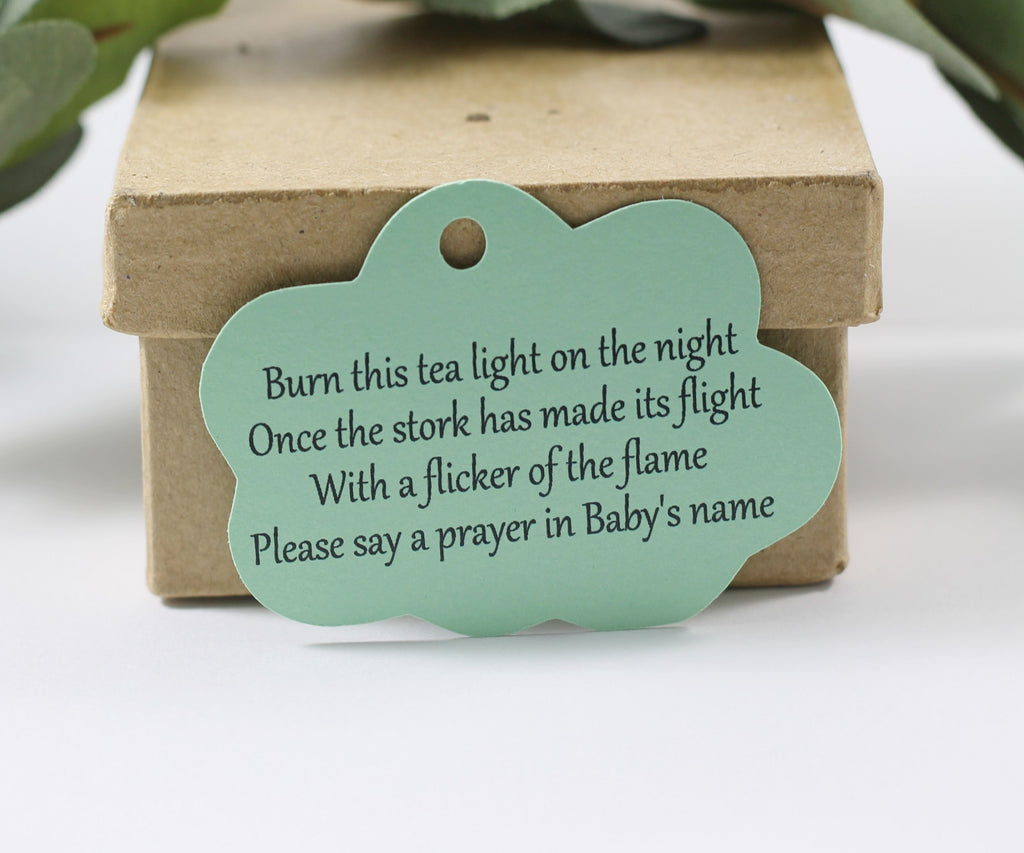 Baby Shower Tags - Cloud Themed with Stork Poem in Light Green - 20pc-Baby Shower Tags-The Paper Medley