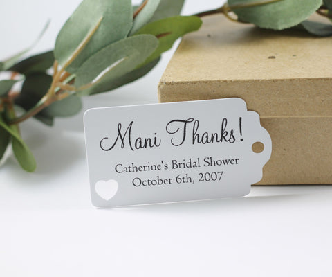 White Bridal Shower Favor Tags with Mani Thanks Set of 20 | The Paper Medley