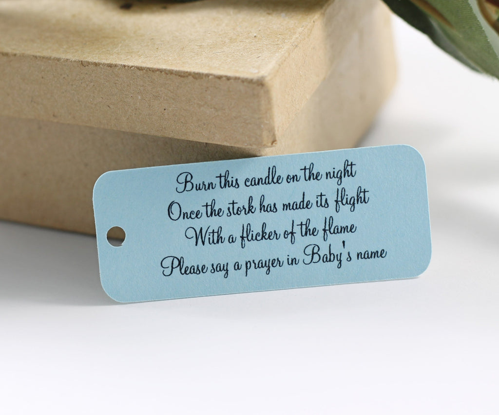Small Baby Shower Tags - Light Blue - Burn This Candle - 20pc-Baby Shower Tags-The Paper Medley